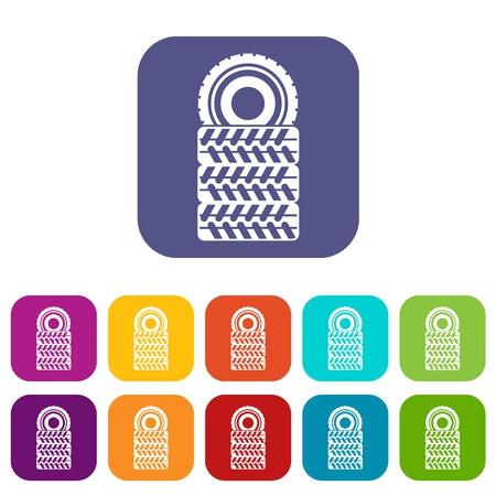 rim: Pile of tires icons set Illustration