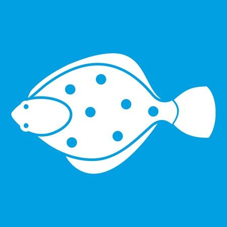 Flounder fish icon white