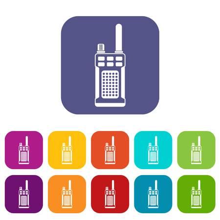 portable radio: Portable handheld radio icons set