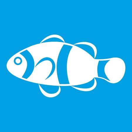 Cute clown fish icon white