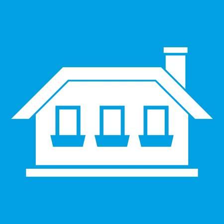 One-storey house with three windows icon white