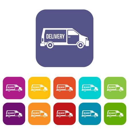 delivery truck: Delivery truck icons set illustration. Illustration