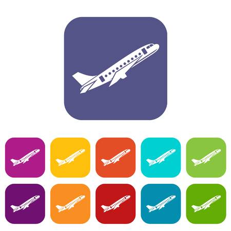 Aircraft icons set vector illustration in flat style in colors red, blue, green, and other
