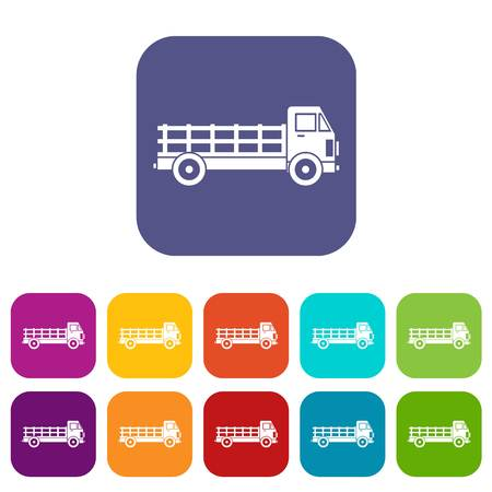 heavy: Truck icons set vector illustration in flat style in colors red, blue, green, and other Illustration