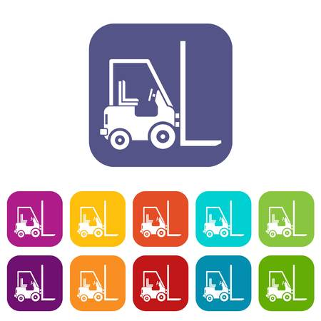 moving truck: Stacker loader icons set illustration.