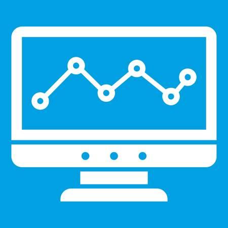 Graph in computer screen icon white illustration.