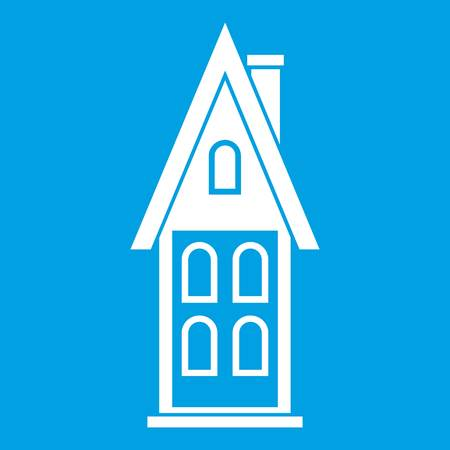 Two storey house with attic icon white isolated on blue background vector illustration.