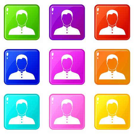Pastor icons of 9 color set isolated vector illustration. Illustration