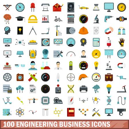 hard: 100 engineering business icons set, flat style