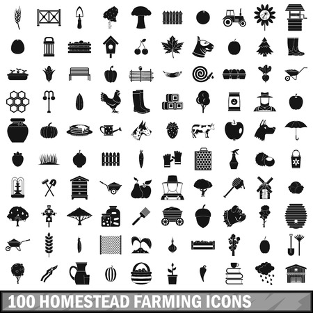 rubbish cart: 100 homestead farming icons set, simple style