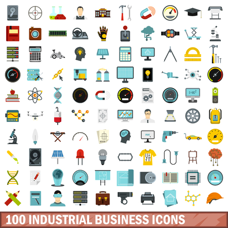 drill: 100 industrial business icons set, flat style
