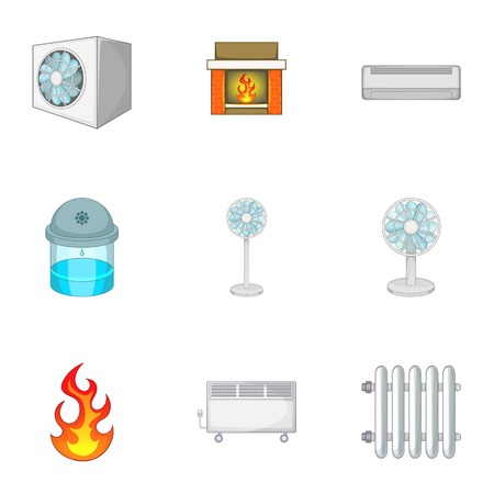 Heating system icons set. Cartoon set of 9 heating system vector icons for web isolated on white background