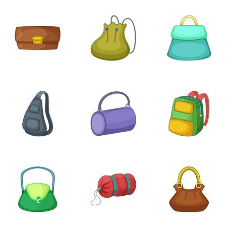 Types of bags icons set. Cartoon set of 9 Types of bags vector icons for web isolated on white background