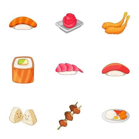 Japanese dishes icons set. Cartoon set of 9 Japanese dishes vector icons for web isolated on white background Illustration