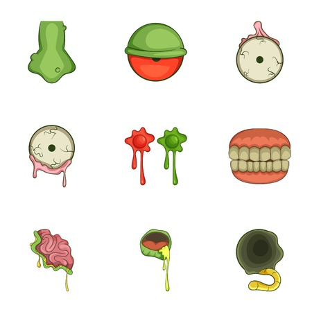 head louse: Halloween zombie sticker icons set. Cartoon set of 9 halloween zombie sticker vector icons for web isolated on white background