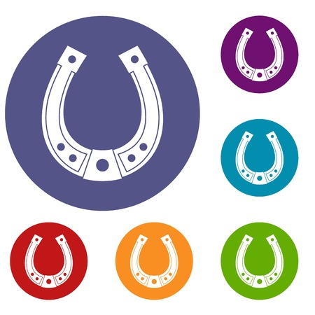 lucky charm: Horseshoe icons set in flat circle red, blue and green color for web Illustration
