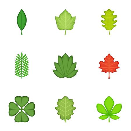 shaft: Leaves icons set. Cartoon set of 9 leaves vector icons for web isolated on white background