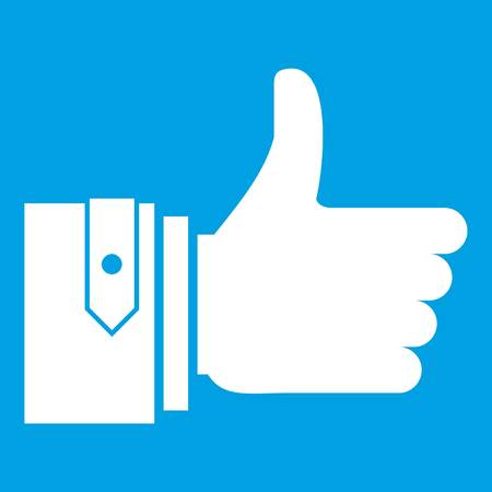 Thumbs up icon white isolated on blue background vector illustration Illustration