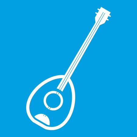 saz: Saz turkish music instrument icon white isolated on blue background vector illustration