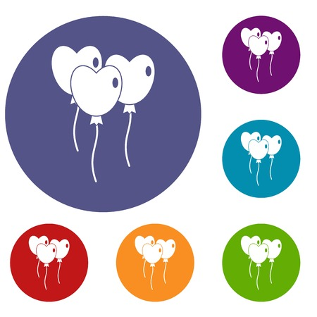 red balloons: Three balloons in the shape of heart icons set in flat circle red, blue and green color for web