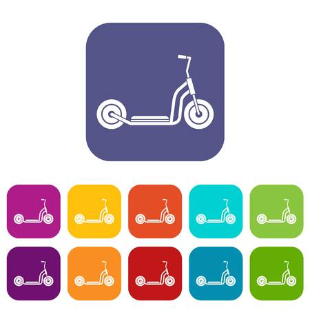Kick scooter icons set vector illustration in flat style in colors red, blue, green, and other