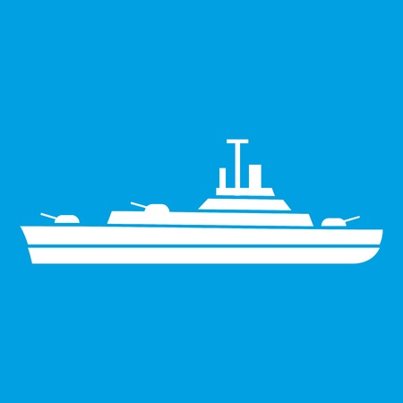 Warship icon white isolated on blue background vector illustration