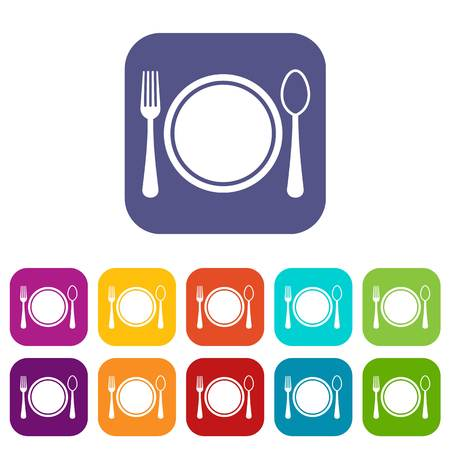 Place setting with plate,spoon and fork icons set vector illustration in flat style in colors red, blue, green, and other