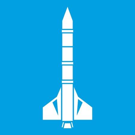 atomic bomb: Atomic rocket icon white isolated on blue background vector illustration