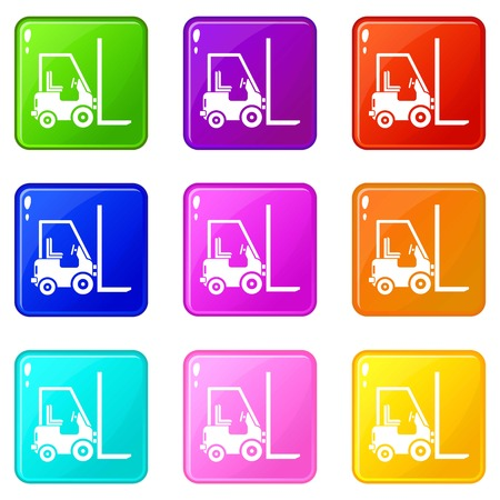 delivery truck: Stacker loader icons of 9 color set isolated vector illustration Illustration