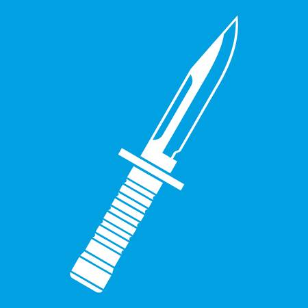 Military knife icon white isolated on blue background vector illustration
