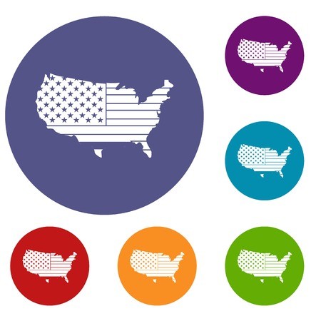 アメリカ地図アイコンを web 用フラット円の赤、青、緑の色の設定します。