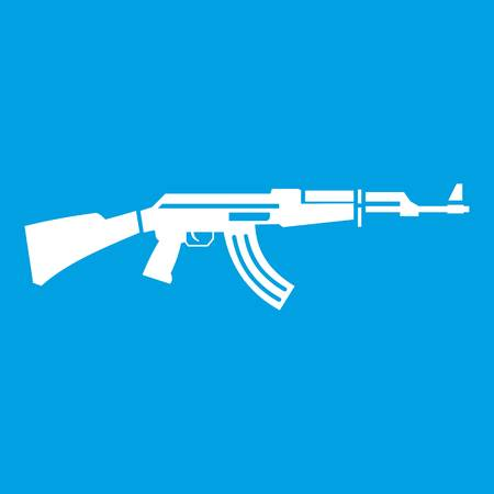 Military rifle icon white isolated on blue background vector illustration