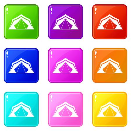 refuge: Tent icons of 9 color set isolated vector illustration