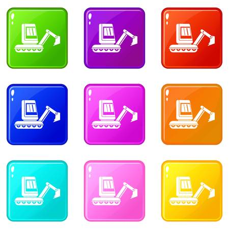 Mini excavator icons of 9 color set isolated vector illustration