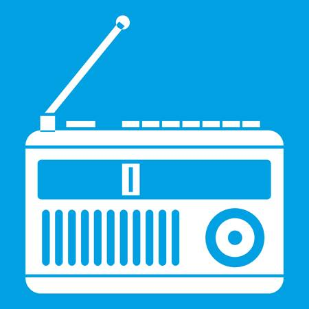 wireless icon: Retro radio icon white isolated on blue background vector illustration