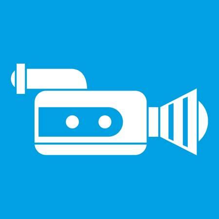 Retro camera icon white isolated on blue background vector illustration Illustration