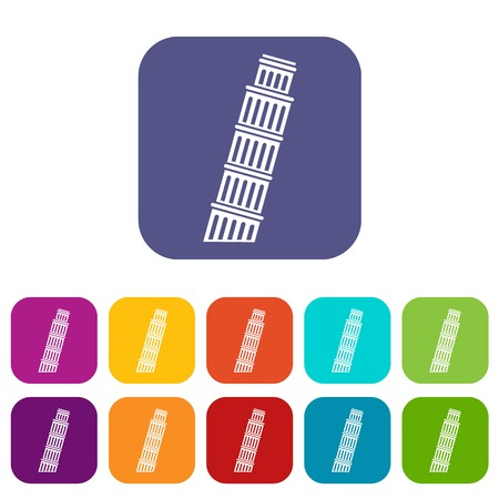 Tower of Pisa icons set vector illustration in flat style in colors red, blue, green, and other