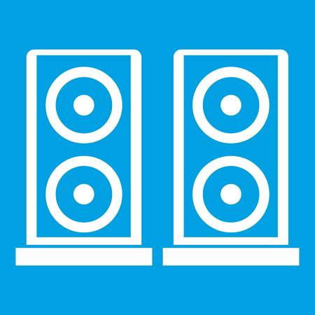 electronic music: Music speakers icon white isolated on blue background vector illustration