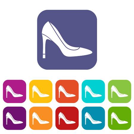 milánó: High heel shoe icons set vector illustration in flat style in colors red, blue, green, and other