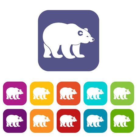 Bear icons set vector illustration in flat style in colors red, blue, green, and other Illustration