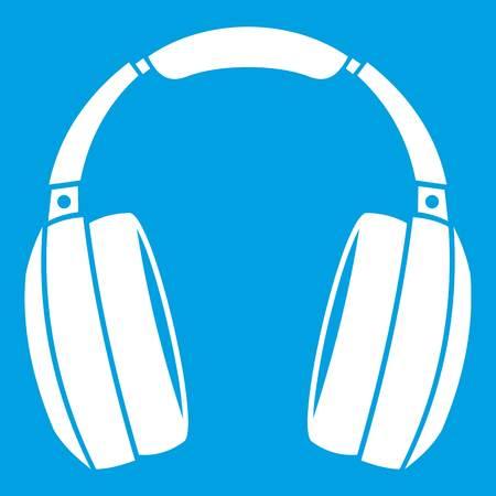 electronic music: Headphones icon white isolated on blue background vector illustration