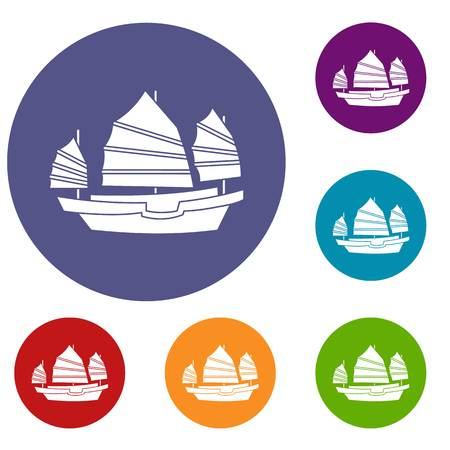hong kong harbour: Junk boat icons set in flat circle red, blue and green color for web