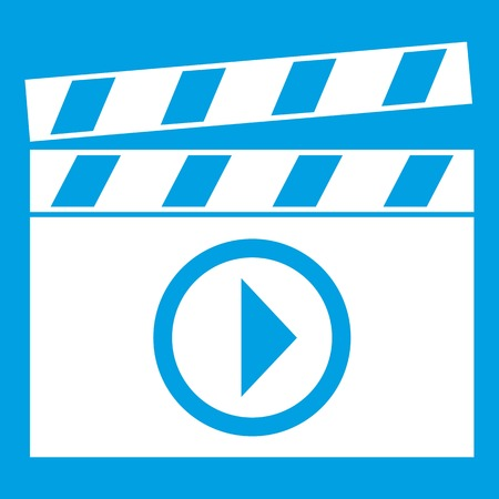 old people: Clapperboard for movie shooting icon white isolated on blue background vector illustration