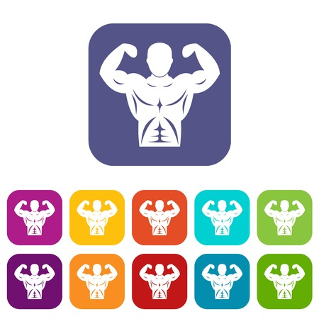 Athletic man torso icons set Illustration