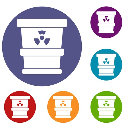 radioactive sign: Trashcan containing radioactive waste icons set in flat circle red, blue and green color for web Illustration