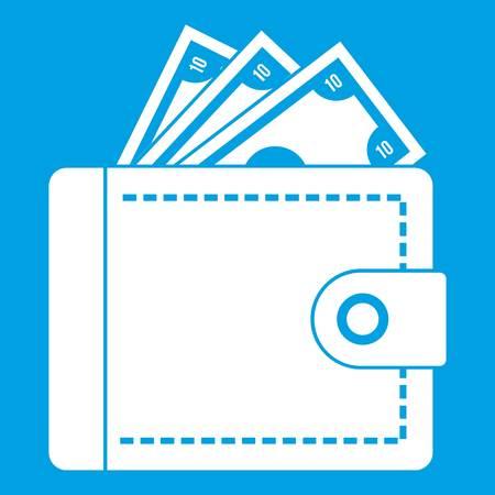 Purse with money icon white isolated on blue background vector illustration Illustration