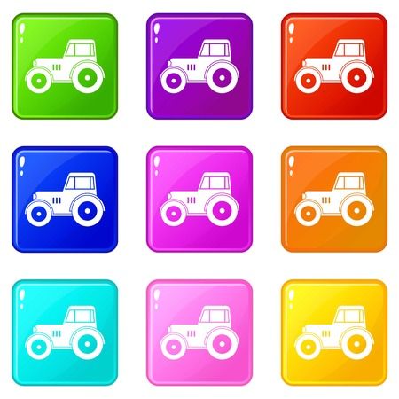 traction engine: Tractor icons of 9 color set isolated vector illustration