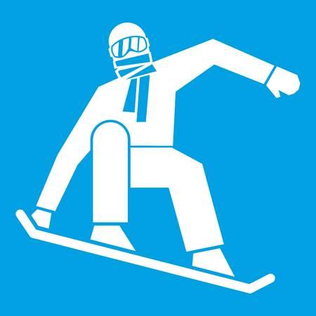 Snowboarder icon white isolated on blue background vector illustration Illustration