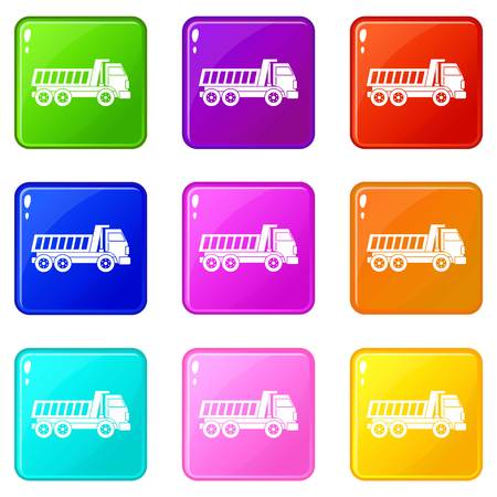 moving truck: Dumper truck icons of 9 color set isolated vector illustration Illustration