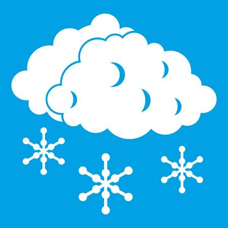 sleet: Clouds and snow icon white isolated on blue background vector illustration